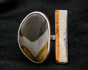 Desert Night Jasper Copper & Silver Ring - Size 7.25