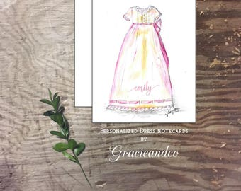 Baby girl shower notecards thank you notes original art hand drawn baby shoes personalized custom notecards