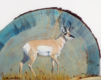 Pronghorn Oil Painting on Beetle Kill Pine