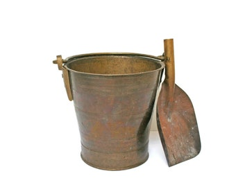 Vintage Coal Bucket And Shovel Solid Bronze Shuttle Fire Starter Fireplace