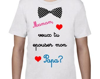 "Kids t-shirt marriage proposal ""Mommy will you marry Daddy"""