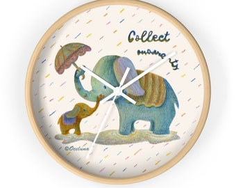 Wall Clock Kids Baby Elephant Collecting Memories Moments