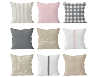 Pillow Covers Farmhouse Mix and Match, Farmhouse Ticking Plaid Throw Pillow Covers Set, Light Pink Beige Grey Pillow Covers, Farmhouse Decor