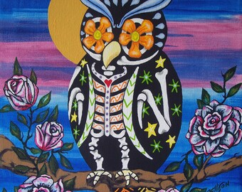 """Day Of The Dead """"Owl and Roses"""" Multiple Sizes Available Art Print Poster Mexican Folk Artist J Ellison"""
