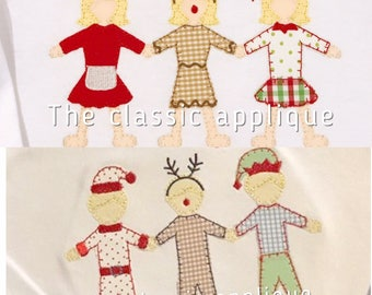 Christmas boy and girl paper doll blanket stitch embroidery design file