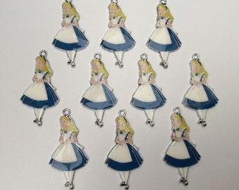 10 x Alice in wonderland metal enamel charms NEW princess crafts pendants