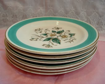 Vintage Wedding Dessert Plates Edwin M. Knowles Magnolia Bread Butter Plates Set of 6 Green and White Vintage Bridal Shower