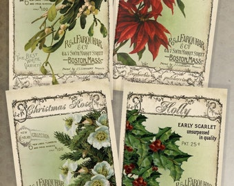 Instant Digital Download Printable Christmas 6 x 4 and 3 x 2 Collage Sheets  Vintage Christmas Florals Seed Packs Scrapbooking