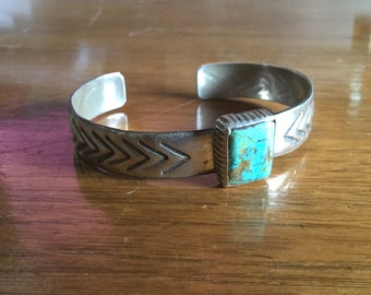 Antique Navajo Old Pawn Sterling Silver Turquoise Bracelet by Betty Rose Billie