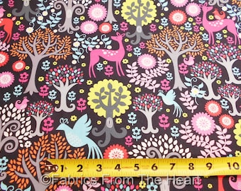 Fantasy Woods Trees Deer Birds Nature on Gray  BY YARDS  Michael Miller Fabric