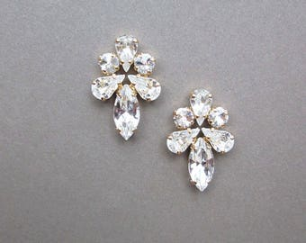 Bridal crystal studs, Swarovski crystal bridal earrings, Swarovski earrings, Stud rhinestone earrings in gold, silver, rose gold, Wedding