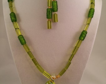 Green and Blue Glass Heart Pendant Necklace and Earring Set
