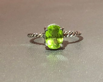 Peridot Sterling Silver Rope Ring Stackable