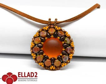 Tutorial Lola Pendant-Beading Tutorial with honeycomb beads,Jewelry Tutorial, Instant download, Ellad2