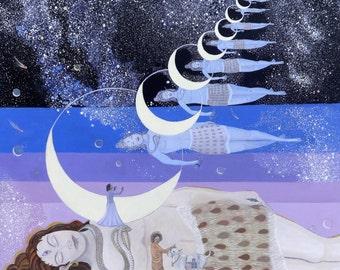 Sathya Sai Baba, Kalatitaya, He who is beyond time, Original acrylic painting by Sonya Ki Tomlinson