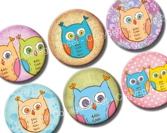 Doodle Owls 1 inch bottle caps circles images. Printable instant download digital collage sheet for cupcake toppers, bottlecaps, magnets