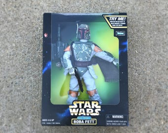 "Star Wars Boba Fett Action Figure, Star Wars Doll, Star Wars Gift for Men, 12"" Star Wars Toy, 90s Vintage Star Wars Electronic Kids Toy"