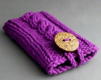 iPhone 6 Case iPhone 4 to7 Samsung Galaxy s3 to s7 or Samsung Galaxy Note 2 to 6 Case  Amethyst Coconut Button Crochet Loop