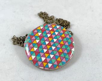 Geometric Locket Necklace, Circle Locket, Colorful Locket Necklace