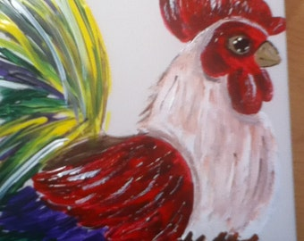 Set of 4 Hand Painted Rooster coasters