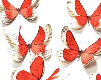 Baby shower decorations girl, paper butterflies, butterfly party, butterfly wall art, fairytale wedding, orange wall decor, butterfly art