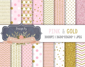Pink and Gold Glitter Digital Papers, Pink and gold scrapbook papers, Princess digital paper, chevron pink and gold, chevron gold, polka dot