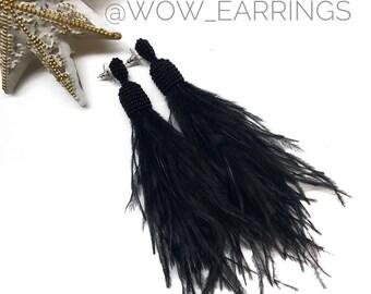 Black feather earrings, Real feather jewelry, Long feather earrings, Long black earrings, Feather dangle earrings, Long earrings