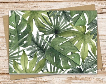 tropical leaves note card set . leaf notecards .  nature, tropics, beach . blank cards . folded stationery . stationary . set of 6