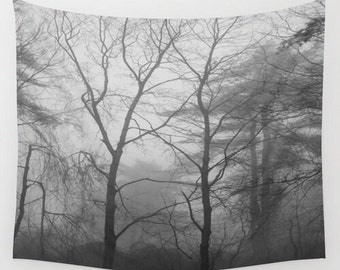 Woodland Fog Black & White Wall Tapestry, forest tapestry, tree tapestry, fog wall tapestry, wall hanging, woodland tapestry, black white