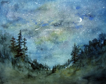 Fine Art Print of original watercolor painting, watercolor landscape, forest painting, woodland painting, night sky watercolor.