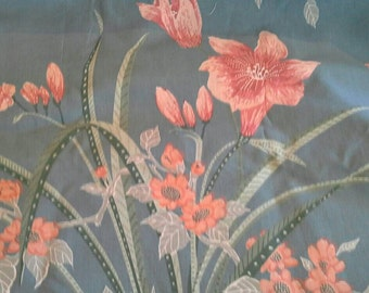 Large Floral Print on Blue Background 4 Yards of Cotton Polyester Fabric X0729