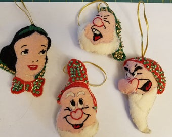 Snow White and Dwarfs Handmade Vintage Ornaments