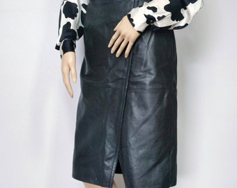 Skirt Black Vintage Leather Skirt Straight High Waist Vintage Pencil Skirt Classic Punk Rocker Size 27 Inch Waist