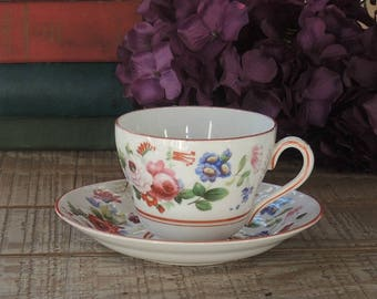 1930s Copeland Grosvenor Footed Tea Cup and Saucer Set, English Bone China Tea Set for Weddings, Bridesmaid Luncheon Numbered