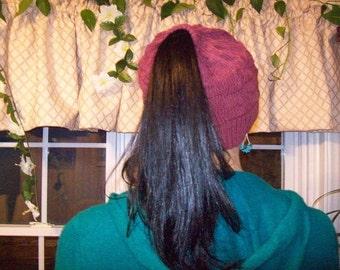 Pony Tail Hat Pattern PDF Machine Knit, Knitting Pattern, Knitted Hat Pattern