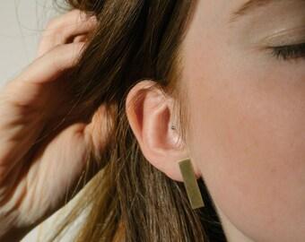 Bar Stud Earrings | Large Stud Earrings | Brushed Brass Earrings | Modern Earrings | UK Jewellery