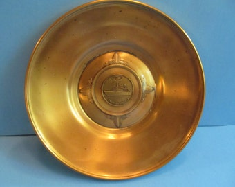 Vintage  Glass and  Brass Plate  - Pacific  Princess   N.E. Art  Metals  N.H.