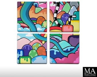 Alternate Landscape - 4 x Original Urban Art Canvas Painting. Contemporary, Modern Graffiti abstract Street landscape pop