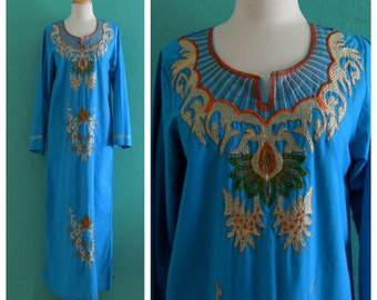vintage 70's aqua blue kaftan // embroidered maxi boho dress