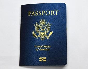 MEGHAN US Passport Wedding Program with Gold Embossed Cover Design, Booklet, Travel inspired wedding program, destination wedding invitation