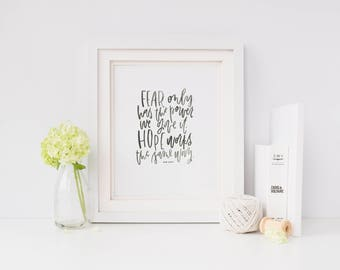 Hand Lettered Print   Fear + Hope