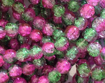 x 150 glass beads 8MM pink green CRAQUELEE