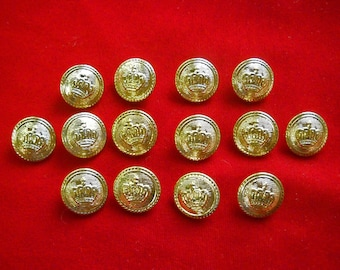 14 Gold Tone Metal Shank Crown Buttons for Renaisance Costume