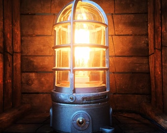 Industrial Trouble Cage Accent Lamp by Stonehill Design - Table Lamp Desk Lamp Industrial Lighting