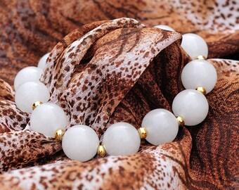 White Quartzite Stretchy Bracelet