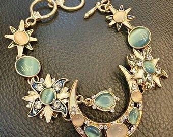 Statement bracelet Drops Stars Gem Bohemian Sun Moon bracelet Blue Natural Opal Dangle Jewelry moon stars hoop bracelet