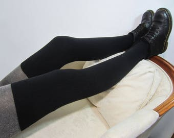 Wool /Cashmere Thigh Highs Socks Over the Knee Sock Leg warmers Boot Socks Black Cotton Blend Sweater Knit A1654