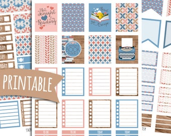 Bibliophile PRINTABLE Planner Stickers for Erin Condren Vertical | Sticker Printables | Book Lover Stickers | Reading Stickers | Reader