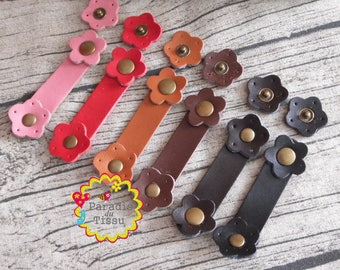 6 x flower leather ties real sewing snap button clasp