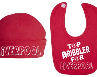 Top Dribbler for Liverpool Baby Hat and Bib Set Baby Clothes Baby Shower Gifts Football Club New Baby gift Baby Sets Baby football set